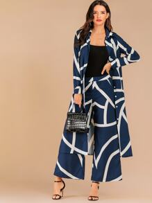 Geo Print Button Front Longline Shirt & Pants Set