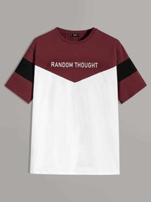 Men Slogan Print Colorblock Tee
