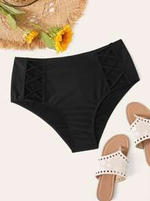 Plus Criss Cross High Waist Bikini Panty