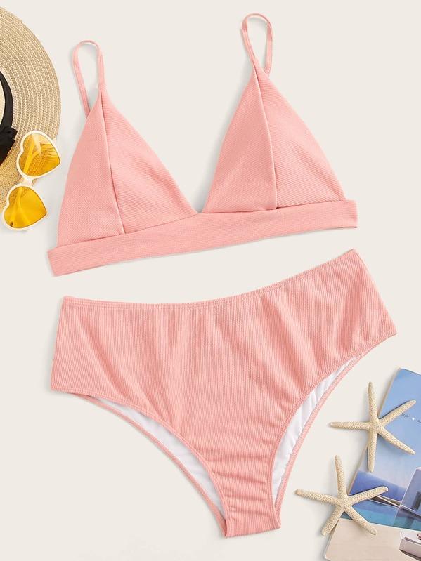 730b1a69a4b Plus Texture Triangle Top With High Waist Bikini Set
