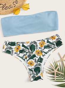 Plus Textured Bandeau With Tropical Bikini Set
