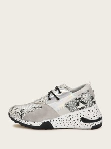 Snakeskin Print Chunky Sole Trainers