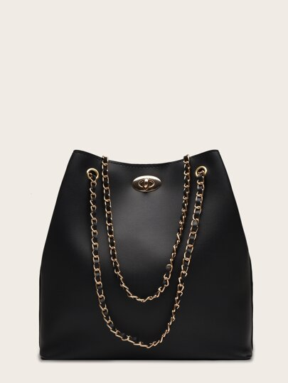 Twist Lock Chain Tote Bag