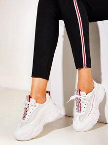 Slogan Ribbon Mesh Panel Chunky Sole Trainers