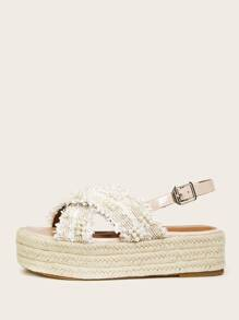 Faux Pearl Decor Slingback Espadrille Wedges