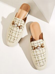 Faux Pearl Decor Tweed Flat Mules
