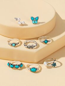 Turquoise Detail Ring & Earrings 8pcs