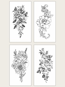 Floral Waterproof Tattoo Sticker 4sheets