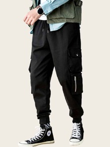 Men Pocket Zipper Drawstring Waist Cargo Pants