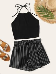 Self Tie Halter Top & Striped Belted Shorts Set