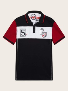 Men Letter Embroidered Color Block Polo Shirt