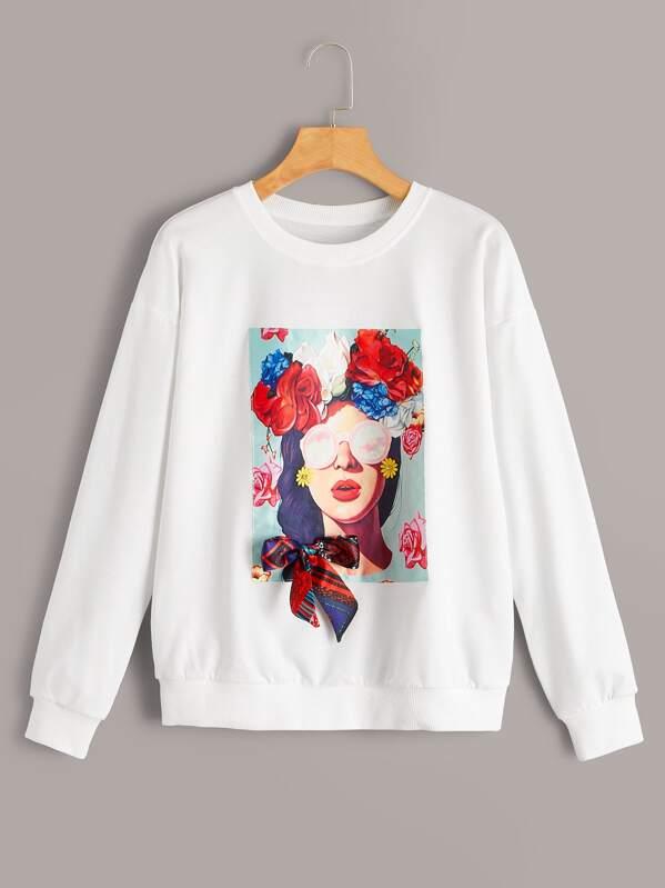 d9ea64a7c6 Figure & Floral Patch Bow Detail Sweatshirt