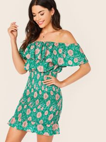 Floral Print Shirred Ruffle Trim Bardot Dress