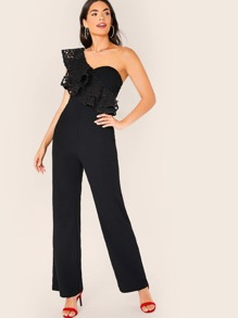 One Shoulder Embroidery Mesh Ruffle Trim Bustier Jumpsuit