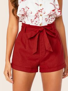 Solid Paperbag Waist Cuffed Shorts