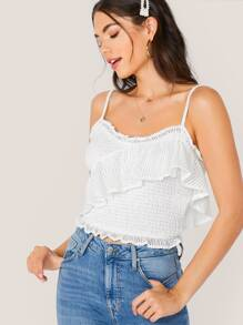 Solid Ruffle Detail Crochet Cami Top