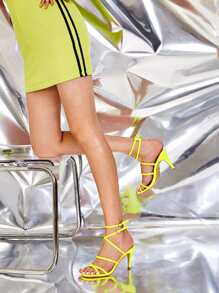 Neon Yellow Criss Cross Ankle Strap Stiletto Heels