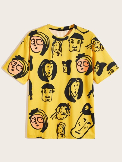 Guys Cartoon Print Round Neck Tee