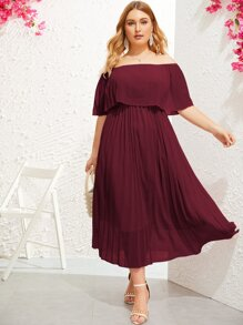 plus solid ruffle trim off shoulder dress