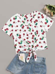 Fruit Print Knot Front Blouse