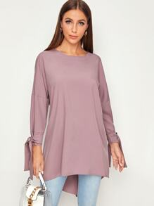 Solid Tie Sleeve Asymmetrical Hem Blouse