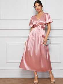 Satin Twist Front Butterfly Sleeve Dress