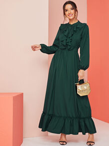 Ruffle Trim Flouce Hem Bishop Sleeve Dress