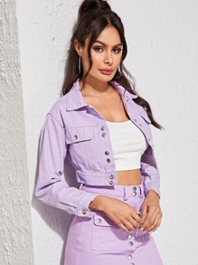 Purple Wash Button Front Crop Denim Jacket