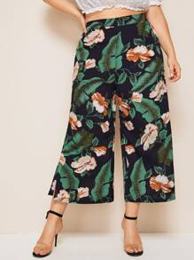 Plus Tropical Print Slit Hem Wide Leg Pants