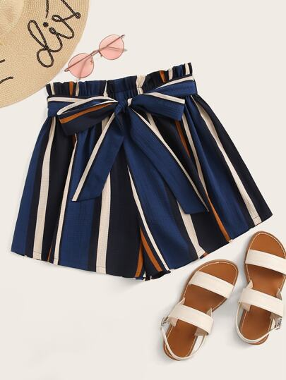 Plus Paperbag Waist Striped Belted Shorts