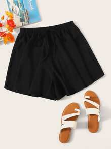Elastic Waist Knot Front Flowy Shorts