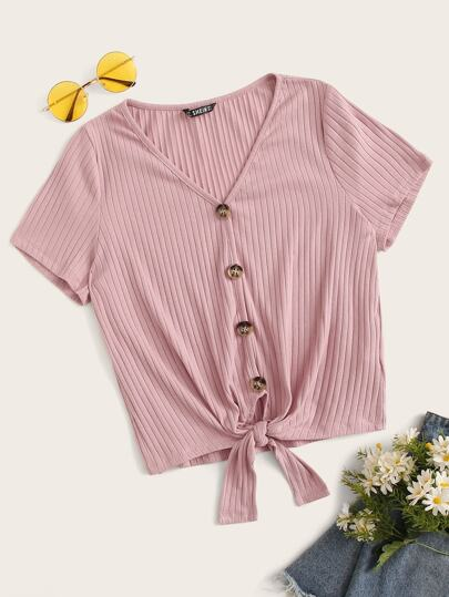 Tie Front Buttoned Rib-knit Top