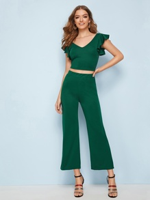 Ruffle Criss Cross Backless Top With Wide Leg Pants