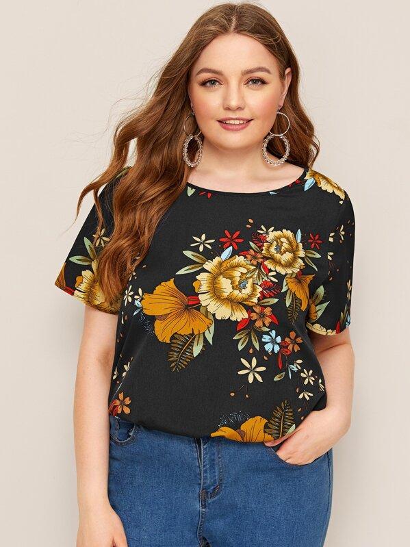 029ad8299e Plus Short Sleeve Floral Print Top