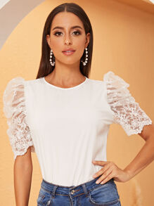 Embroidered Mesh Puff Sleeve Top