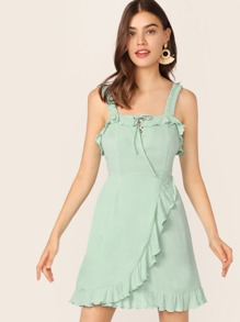 Ruffle Detail Lace Up Front Wrap Dress