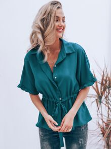 Simplee Solid Frill Trim Drawstring Detail Blouse