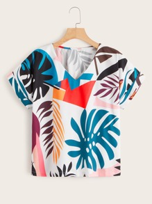 V Neck Tropical Print Blouse