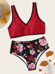 Contrast Binding Top With Floral Bikini Set