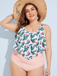 Plus Tropical Hanky Hem Top With Ruched Bikini