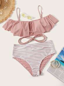 Plus Adjustable Strap Flounce Bikini Set
