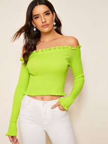 Neon Lime Off Shoulder Lettuce Frill Sweater