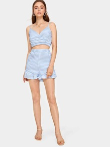 Surplice Gingham Cami Top With Ruffle Hem Shorts