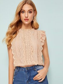 Button Keyhole Butterfly Sleeve Guipure Lace Blouse