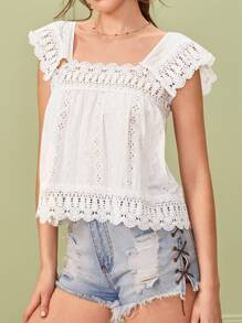 Eyelet Embroidery Square Neck Blouse