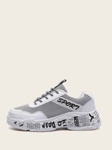 Men Slogan Print Chunky Sole Trainers