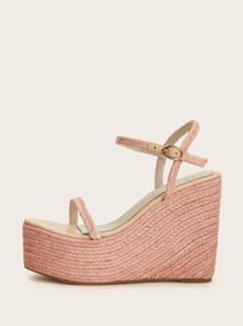 Two Part Ankle Strap Espadrille Wedges