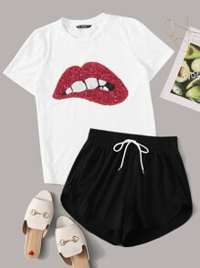 Sequin Lip Patched Tee and Dolphin Shorts Set