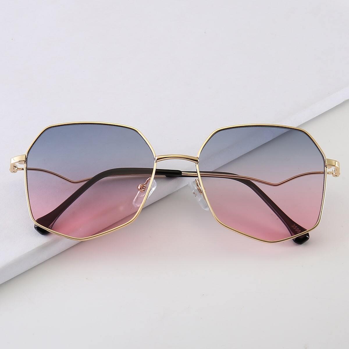 Metal Frame Gradient Lens Sunglasses