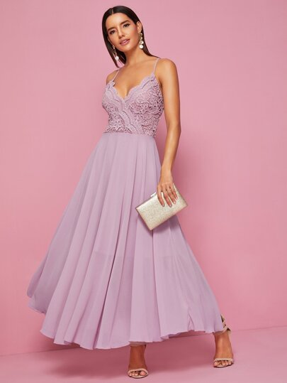 bb427dfc23 Guipure Lace Panel Criss Cross Back Cami Dress